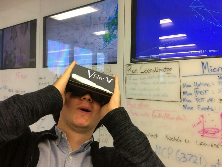 CAPTION A 3-D platform, VENu works with Google Cardboard and is designed to exhibit both virtual and augmented reality features. The personal virtual reality viewer allows users to understand the many complexities and intricacies of the Microboone experiment and to learn more about neutrinos.