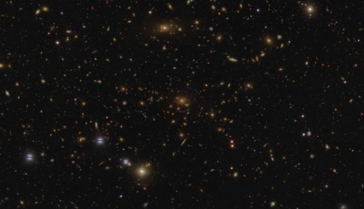 CAPTION This is a HSC-SSP image of a massive cluster of galaxies in the Virgo constellation showing numerous strong gravitational lenses. The distance to the central galaxy is 5.3 billion light years, while the lensed galaxies, apparent as the arcs around the cluster, are much more distant. This is a composite image in the g, r, and i band, and has a spatial resolution of about 0.6 arcseconds.