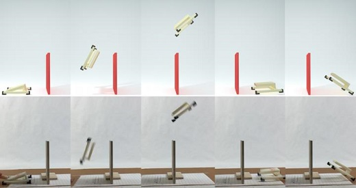 CAPTION A simulation (top row) and real-world experiment (bottom row) match for the same jumping mechanism designed to flip over a wall and land right side up on the other side. This simulation was generated by a new method that accurately predicts the real-world behavior of such mechanisms undergoing large-deformations, high-speed dynamics, frictional contact and impact. It does so at speeds fast enough to now be used in automated design algorithms that must rapidly, yet accurately, predict whether a design will work or fail. CREDIT (Credit: Desai Chen)