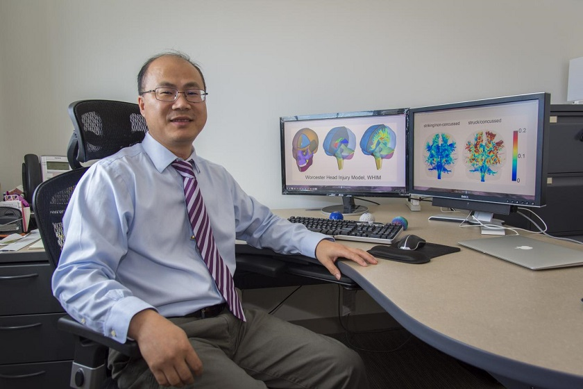 Songbai Ji, associate professor of biomedical engineering at Worcester Polytechnic Institute, is researching how injuries affect functionally important neural pathways and specific areas of the brain.