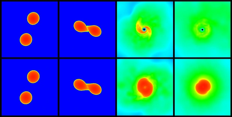 The upper and lower series of pictures each show a simulation of a neutron star merger. In the scenario shown in the upper panels the star collapses after the merger and forms a black hole, whereas the scenario displayed in the lower row leads to an at least temporarily stable star. CREDIT Picture: Andreas Bauswein, HITS