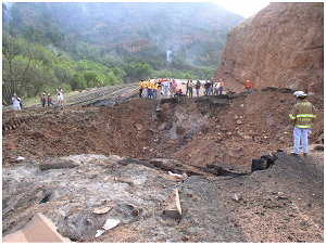 Figure 1: The crater resulting from the Spanish Fork Detonation