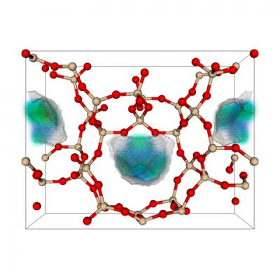This is an example of the 50 best zeolite structures for capturing carbon dioxide. Zeolite is a porous solid made of silicon dioxide, or quartz. In the model, the red balls are oxygen, the tan balls are silicon. The blue-green area is where carbon dioxide prefers to adsorb.  Credit: Berend Smit laboratory, UC Berkeley