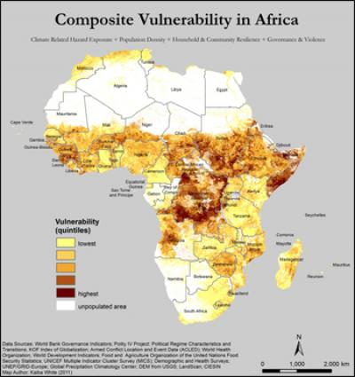 The composite picture highlights areas of chronic insecurity where the four sources of vulnerability coalesce.