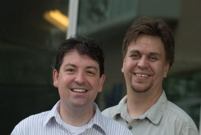 MD Anderson Cancer Center systems biologist Christian Ray (left) and Rice University bioengineer Oleg Igoshin.  Credit: Jeff Fitlow/Rice University