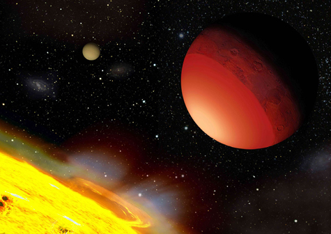 Scientists at Washington University have simulated the atmospheres of hot Earth-like planets, such as CoRoT-7b, shown here in an artist's conception. CoRoT-7b orbits so close to its star that its starward side is an ocean of molten rock. By looking for atmospheres like those generated by the simulations, astronomers should be able to identify Earth-like exoplanets.