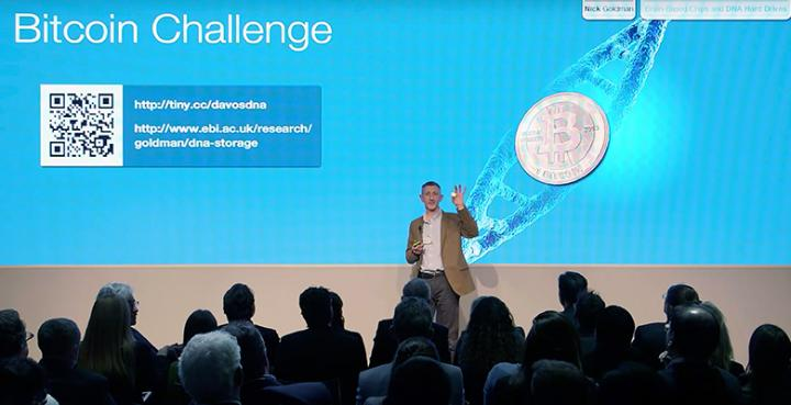 On Jan. 21, 2015, Nick Goldman of EMBL-EBI explained a new method for storing digital information in DNA to a packed audience at a World Economic Forum meeting in Davos, Switzerland.