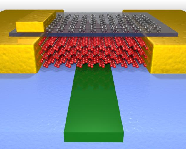 This illustration shows the high performance photodetector which uses few layer black phosphorus (red atoms) to sense light in the waveguide (green material). Graphene (gray atoms) is also used to tune the performance.
