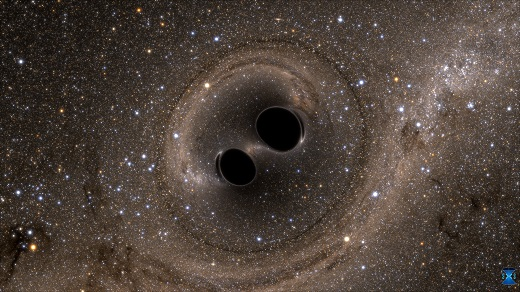 The collision of two black holes—an event detected for the first time ever by the Laser Interferometer Gravitational-Wave Observatory, or LIGO—is seen in this still from a computer simulation. LIGO detected gravitational waves, or ripples in space and time, generated as the black holes merged. The simulation shows what the merger would look like if we could somehow get a closer look. Time has been slowed by a factor of 100. The stars appear warped due to the strong gravity of the black holes.  Credit: SXS