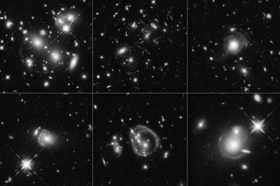 CAPTION These six Hubble Space Telescope images reveal a jumble of misshapen-looking galaxies punctuated by exotic patterns such as arcs, streaks, and smeared rings. These unusual features are the stretched shapes of the universe's brightest infrared galaxies that are boosted by natural cosmic magnifying lenses. Some of the oddball shapes also may have been produced by spectacular collisions between distant, massive galaxies. The faraway galaxies are as much as 10,000 times more luminous than our Milky Way. The galaxies existed between 8 billion and 11.5 billion years ago. CREDIT NASA, ESA, and J. Lowenthal (Smith College)