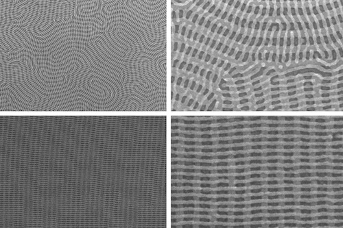 On the top row are two images of a nanomesh bilayer of PDMS cylinders in which the top layer is perpendicular to the complex orientation of the bottom layer. The bottom images show well-ordered nanomesh patterns of PDMS cylinders. The images on the right show zoomed-in views of the images on the left.
