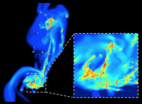 A frame from the simulation of the two colliding 'Antennae' galaxies. Here the galaxies are re-shaped after their first encounter. High resolution allows the astrophysicists to explore the smallest details. Stars are formed in the densest regions (yellow and red) under the effect of compressive turbulence. Star formation is more efficient here than in normal galaxies like our Milky Way. Credit: F. Renaud / CEA-Sap.