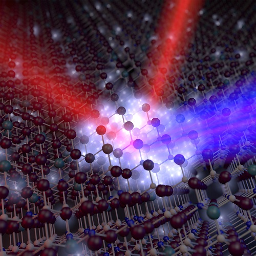 "This rendering depicts a new ""plasmonic oxide material"" that could make possible devices for optical communications that are at least 10 times faster than conventional technologies. (Purdue University image/Nathaniel Kinsey)"