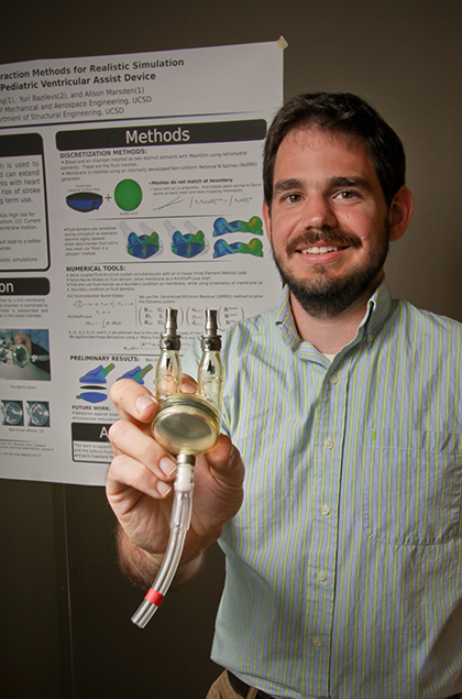 Chris Long, a Ph.D. student is working on simulations of blood flow in the Berlin Heart.