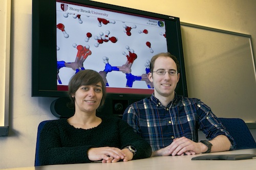 Daniel Elton and Marivi Fernandez-Serra used computer simulation models of water developed at Stony Brook's Institute for Advanced Computational Science to discover its molecular properties are similar to ice.