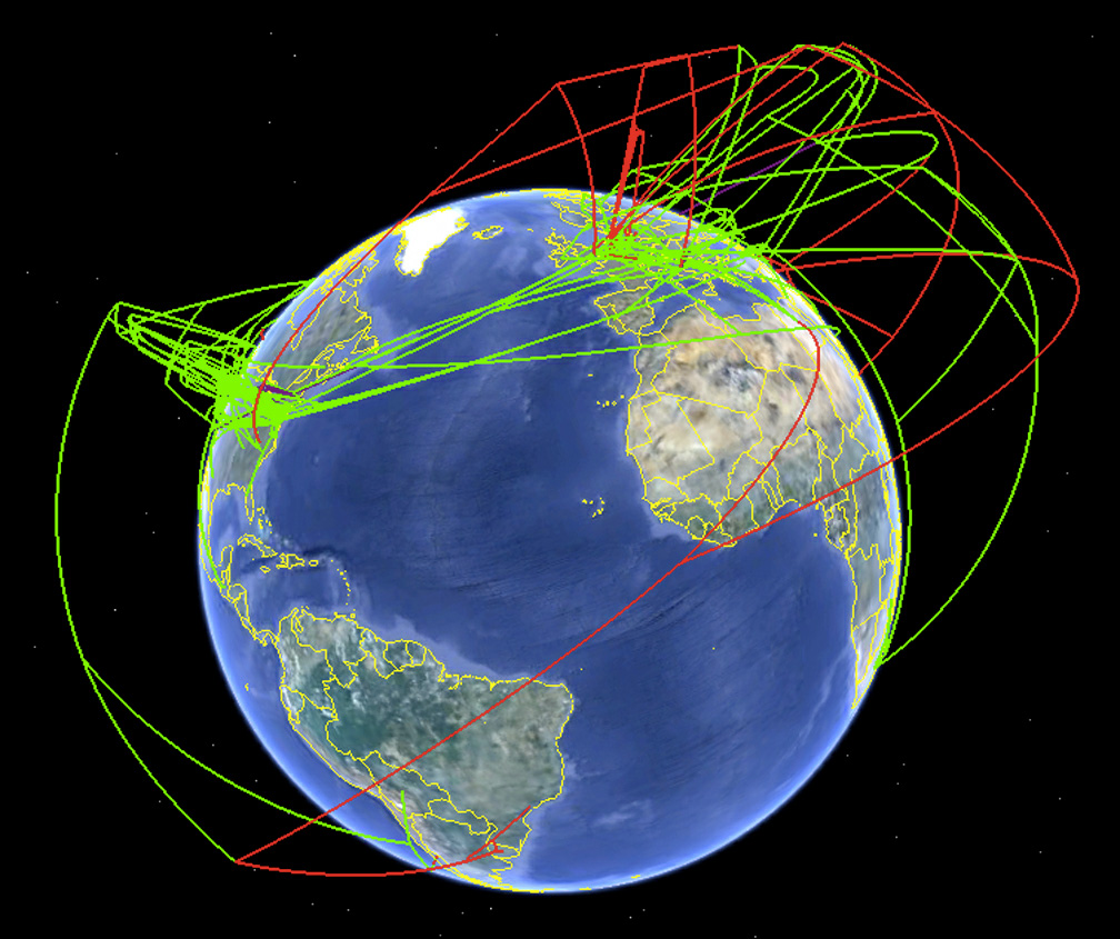 Screenshot of the spread of H7 influenza as produced by SUPRAMAP and visualized by Google Earth™. This view illustrates the historical spread of high pathogenic lineages (high-altitude red lines) and the recent local evolution of high pathogenicity (low-altitude red lines). [credit: Janies/OSU]