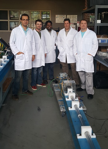 Mississippi State University and Cardiff University researchers collaborate at MSU's Center for Advanced Vehicular Systems. Pictured, from left to right, are MSU doctoral student Hamed Bakhtiary, CAVS student worker Jonny Miller, MSU Assistant Professor of Agricultural and Biological Engineering Raj Prabhu, Cardiff University Senior Lecturer Mike Jones and CAVS Research Engineer III Wilburn Whittington.