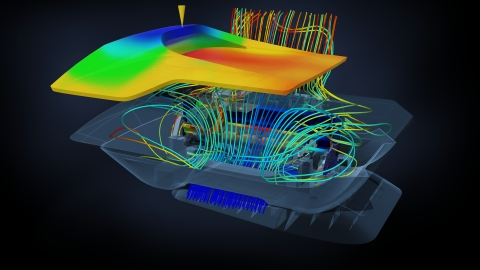 Autodesk Simulation 360 enables any company to make simulation part of their everyday design and engineering processes. The desktop printer here shows Moldflow injection pressure, Mechanical stress and fluid and thermal simulation results using Autodesk Simulation 360